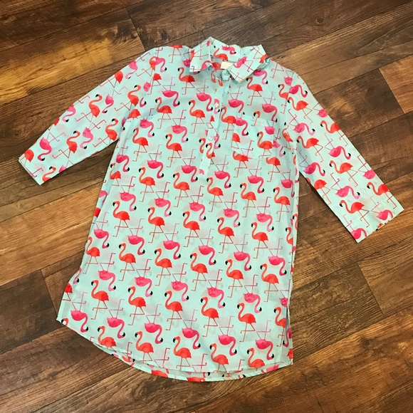 684d3b5bae Mud Pie Kelli Shirtdress Cover-Up Flamingo Pattern.  M_5b7dd7d39264af45d643298d